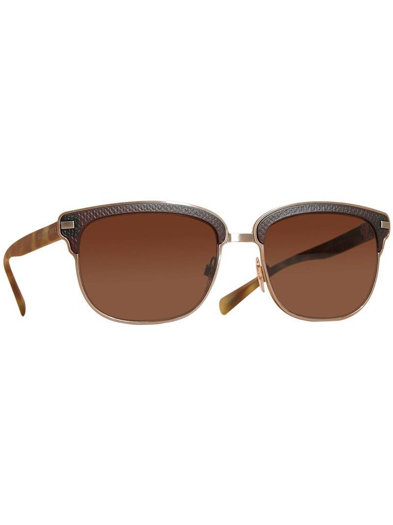 1198bf71e29 Burberry Textured Front Square Frame Sunglasses in Brown for Men - Lyst