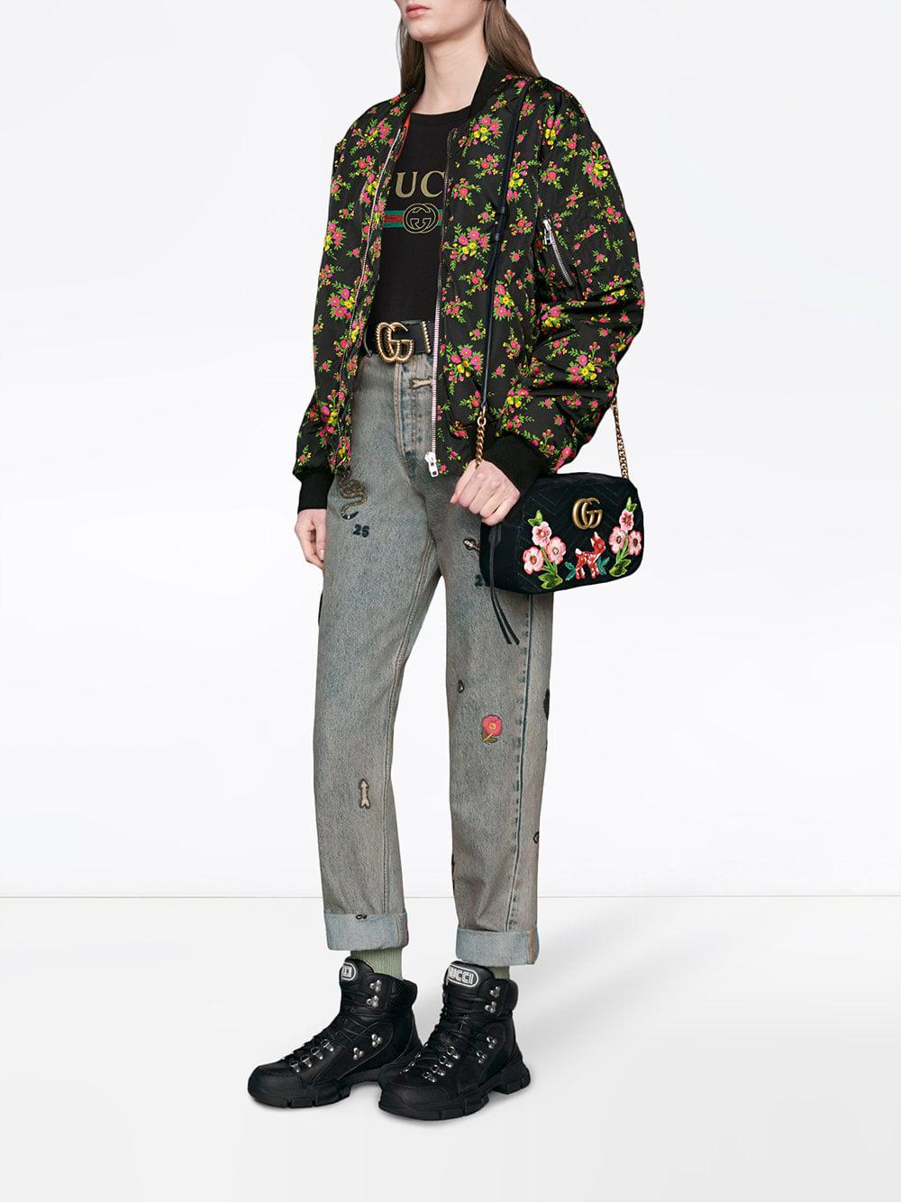 448ad40859c Gucci GG Marmont Velvet Small Shoulder Bag in Black - Lyst