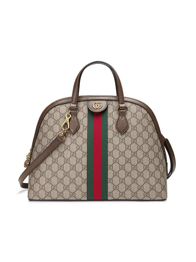 bcce0e98c3f7 Gucci Ophidia Medium Web GG Supreme Top-handle Bag in Brown - Save ...