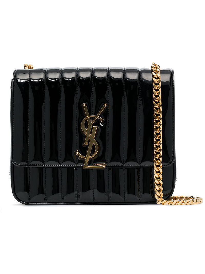 e80711e7a11a Lyst - Saint Laurent Black Vicky Medium Quilted Leather Shoulder Bag ...