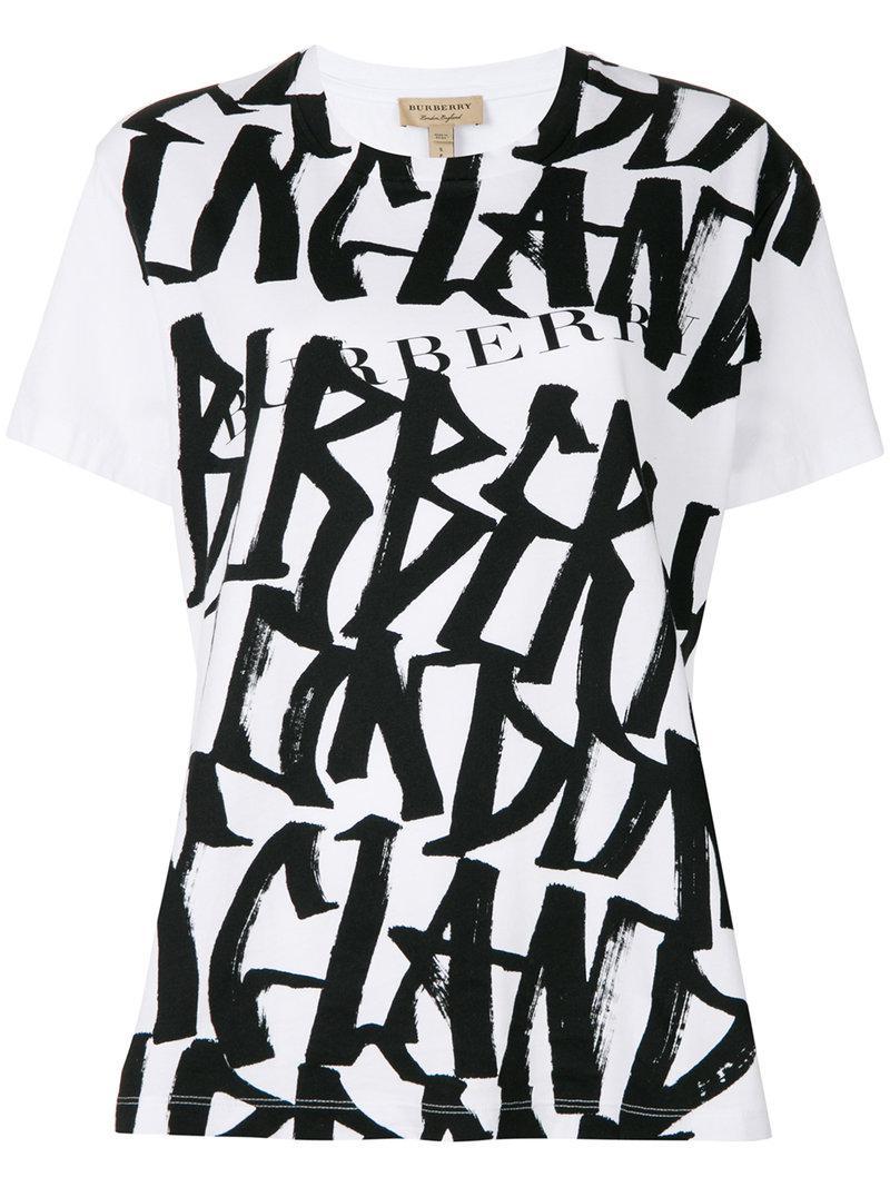 Graffiti Print T-shirt - White Burberry Inexpensive Wholesale Price Cheap Price Wiki For Sale Hof86O