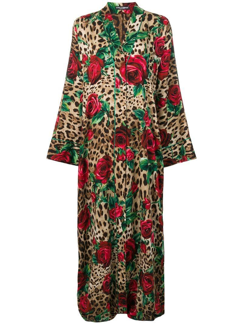 Dolce   Gabbana Long Leopard Print Kimono in Brown - Lyst 653d72918