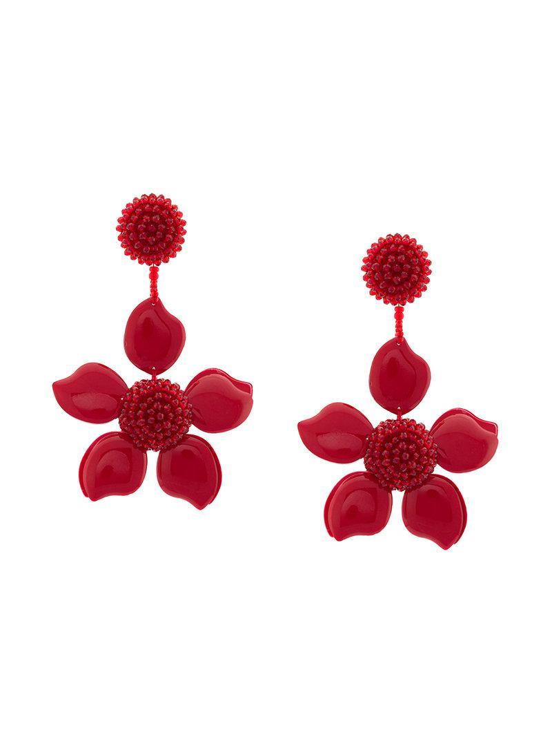 Boucles D'oreilles Fleur Émail - Rouge Oscar De La Renta Wf1moL