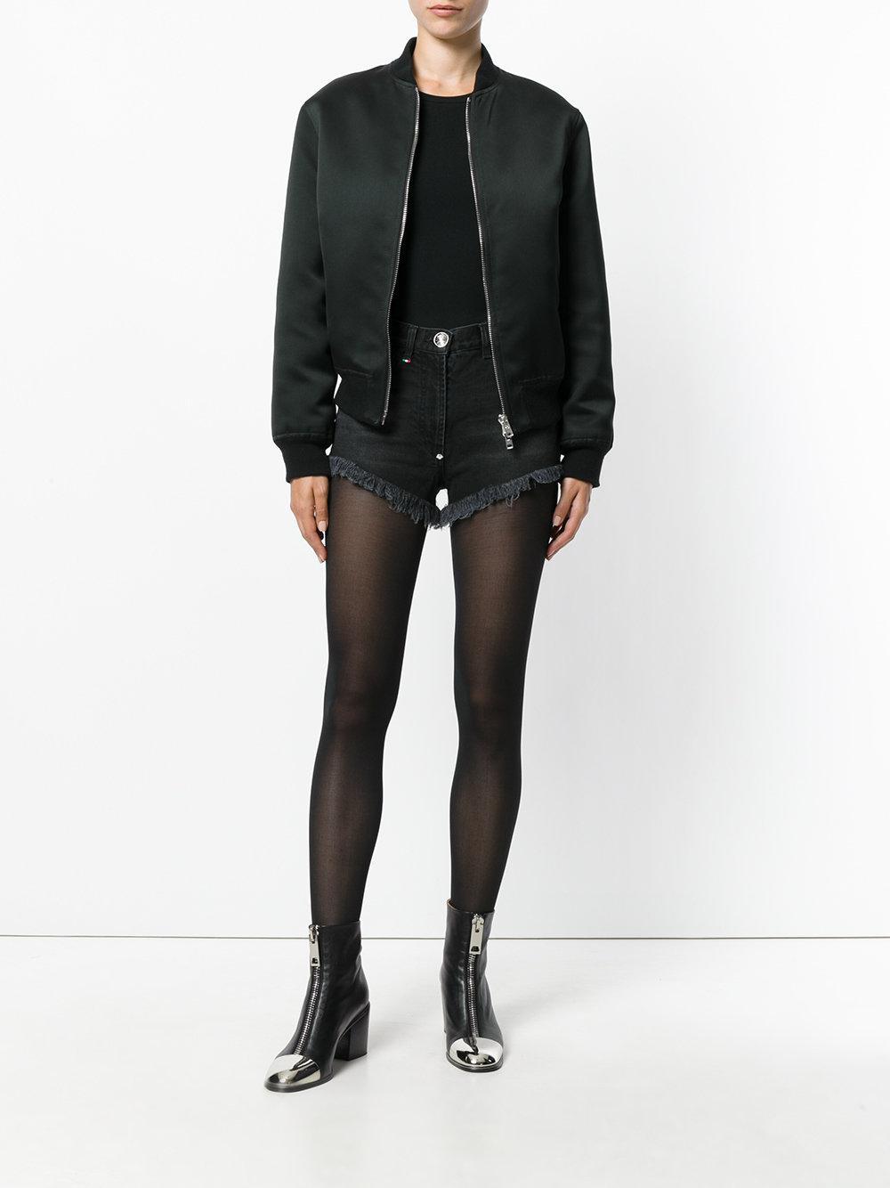 b109312258 Lyst - Philipp Plein Sequin Heart Denim Shorts in Black