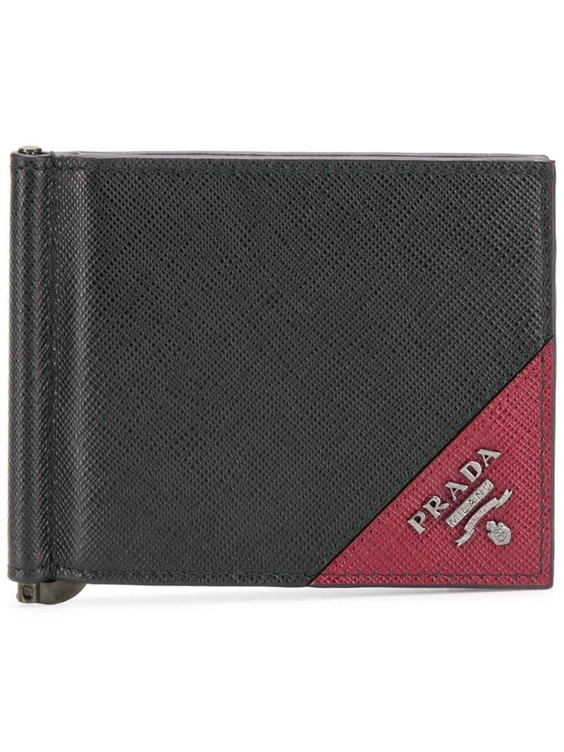 12a0fb2d0912 Prada - Black Leather Logo Wallet for Men - Lyst. View fullscreen