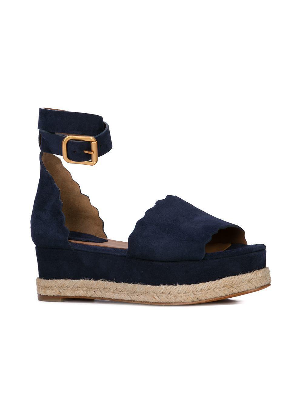 ea936a6824b0 Lyst - Chloé Espadrille Platform Sandals in Blue
