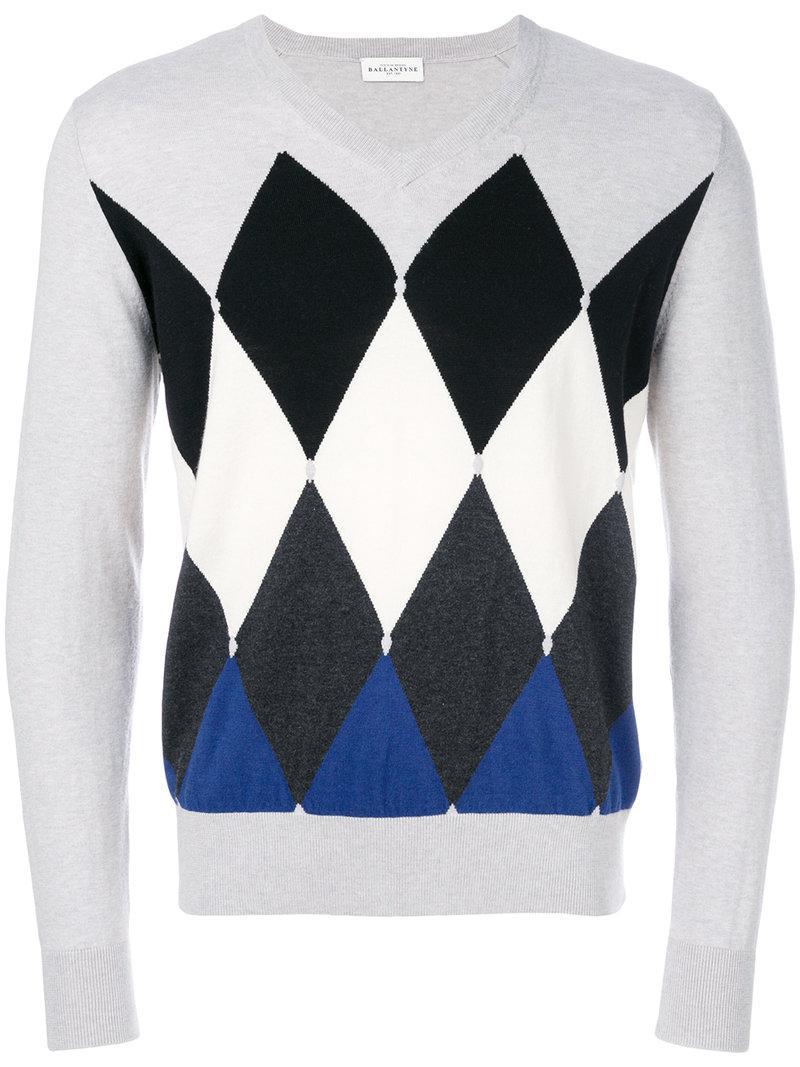 5be5996b7 Ballantyne Argyle Pattern Knit Sweater in Gray for Men - Lyst