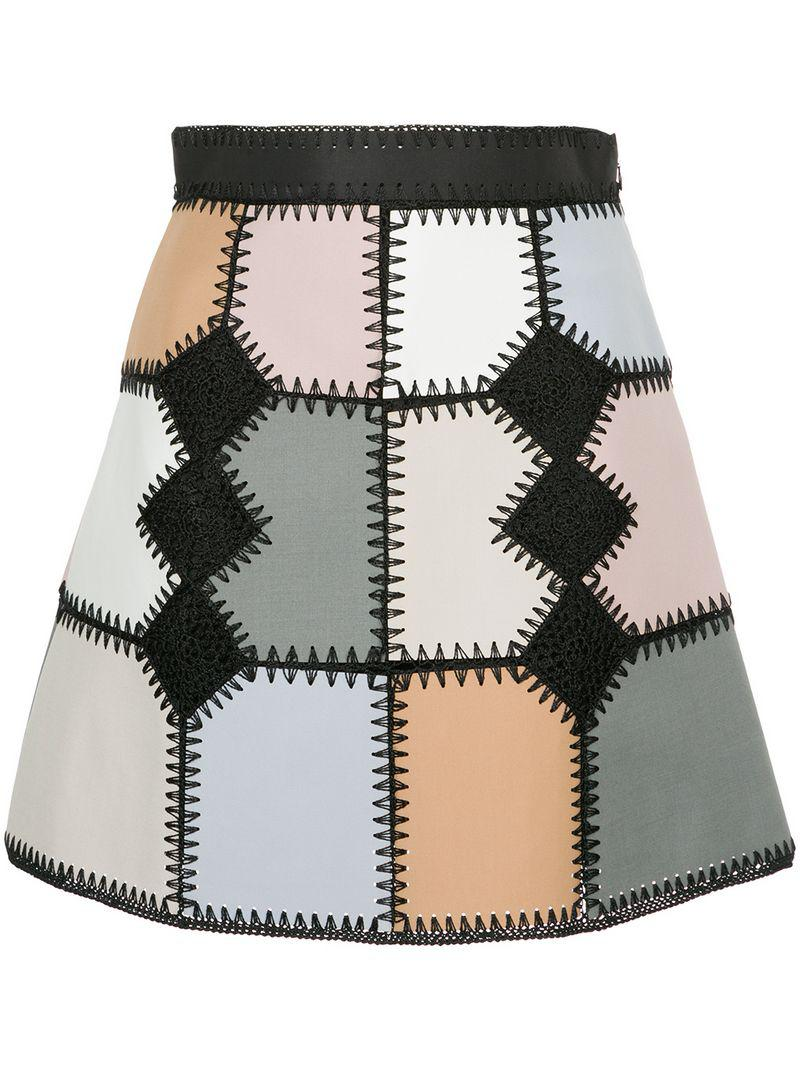 c754101d676d Lyst - Loveless Faux Suede Patchwork Mini Skirt in Metallic