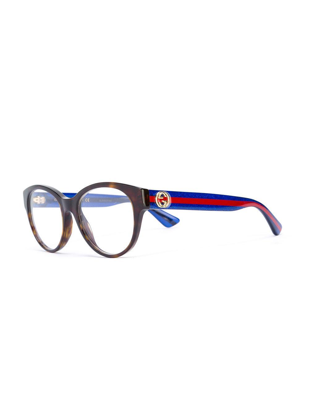 d8b6b1e0d9 Gucci - Blue Tortoiseshell Glasses - Lyst. View fullscreen