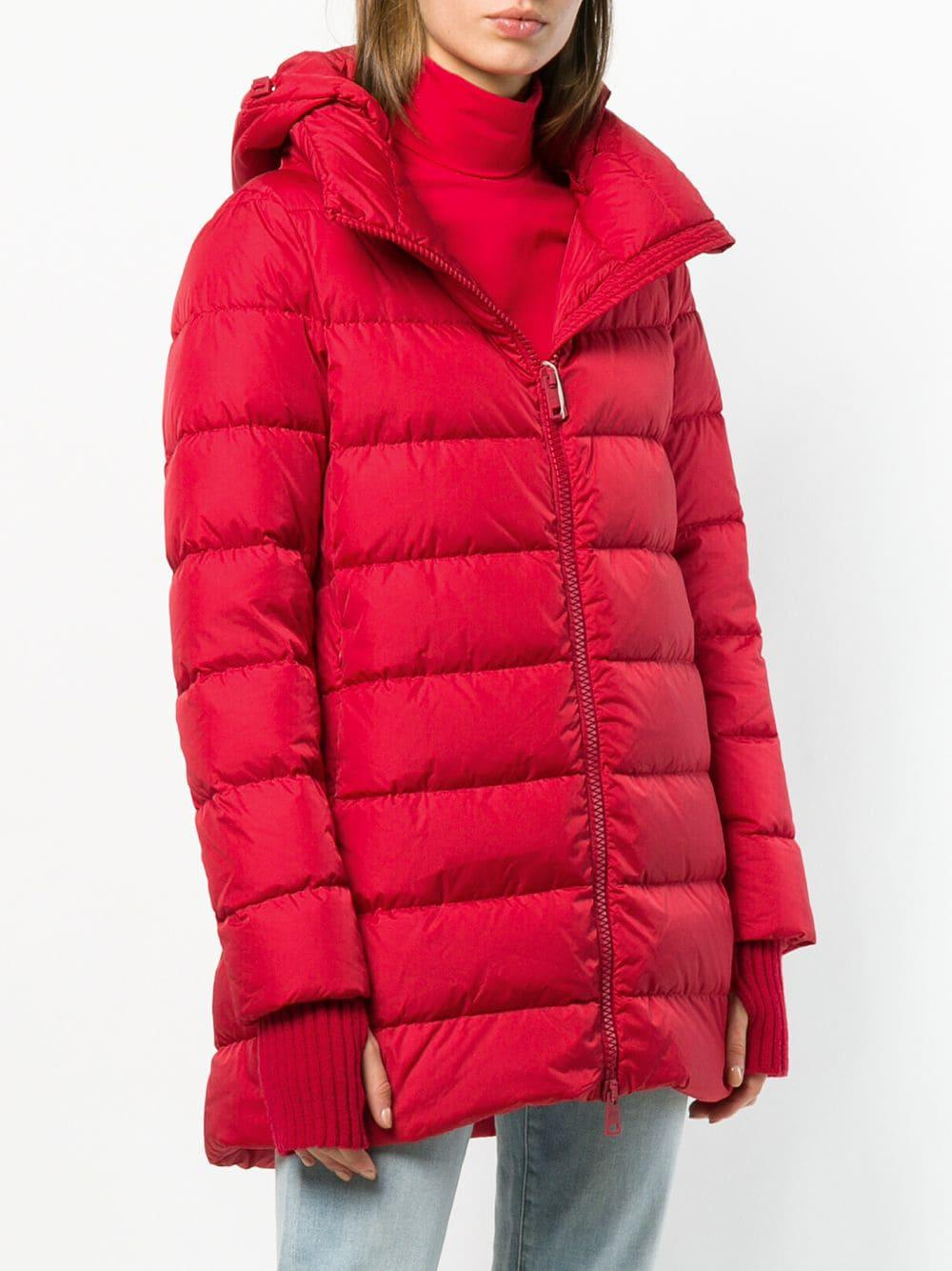 21b28e00295 Herno Hooded Padded Coat in Red - Lyst