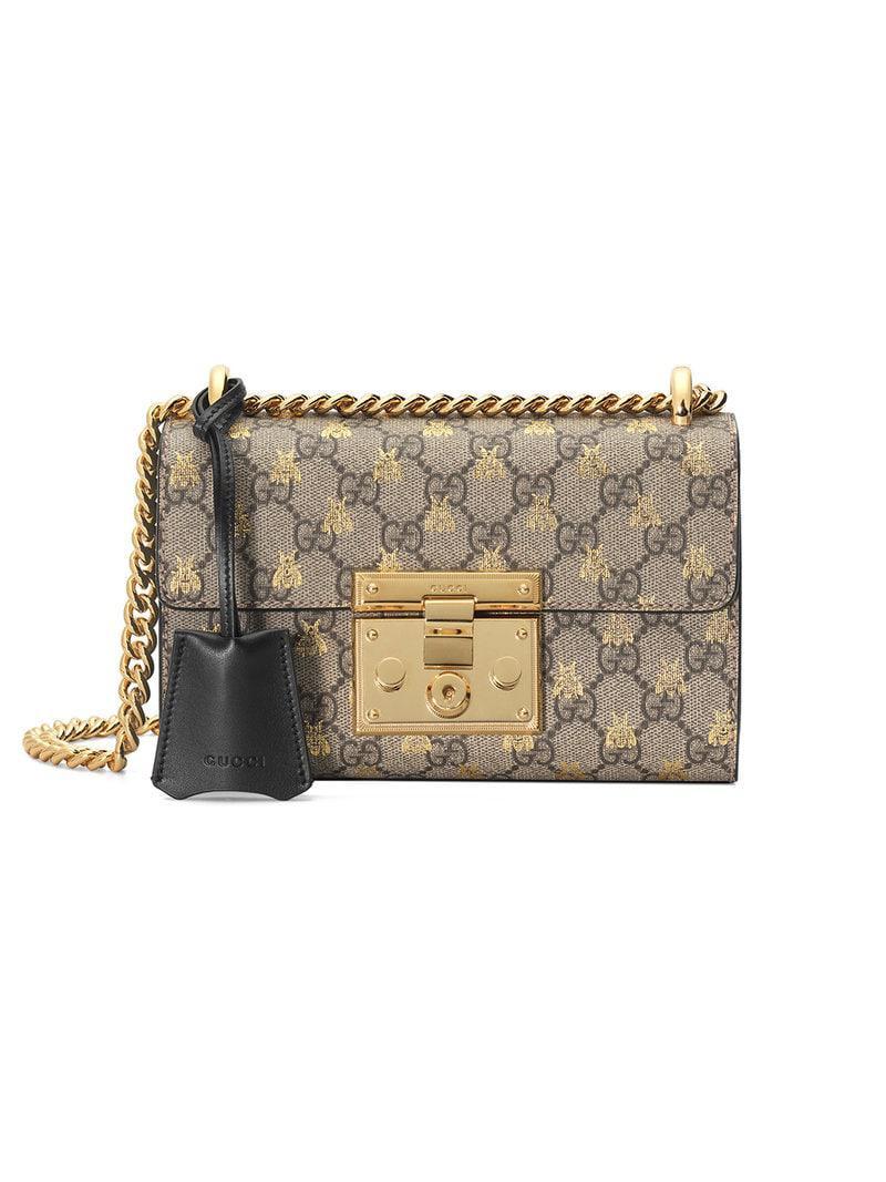 7e1f5b19ba94 Gucci Gold GG Bees Padlock Small Shoulder Bag - Save 9% - Lyst