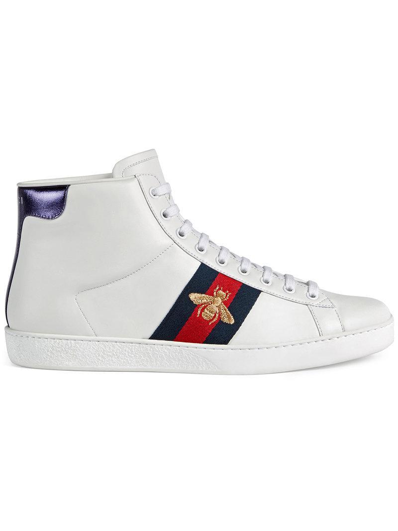 c09de6841 Gucci Ace High-top Sneaker in White for Men - Lyst