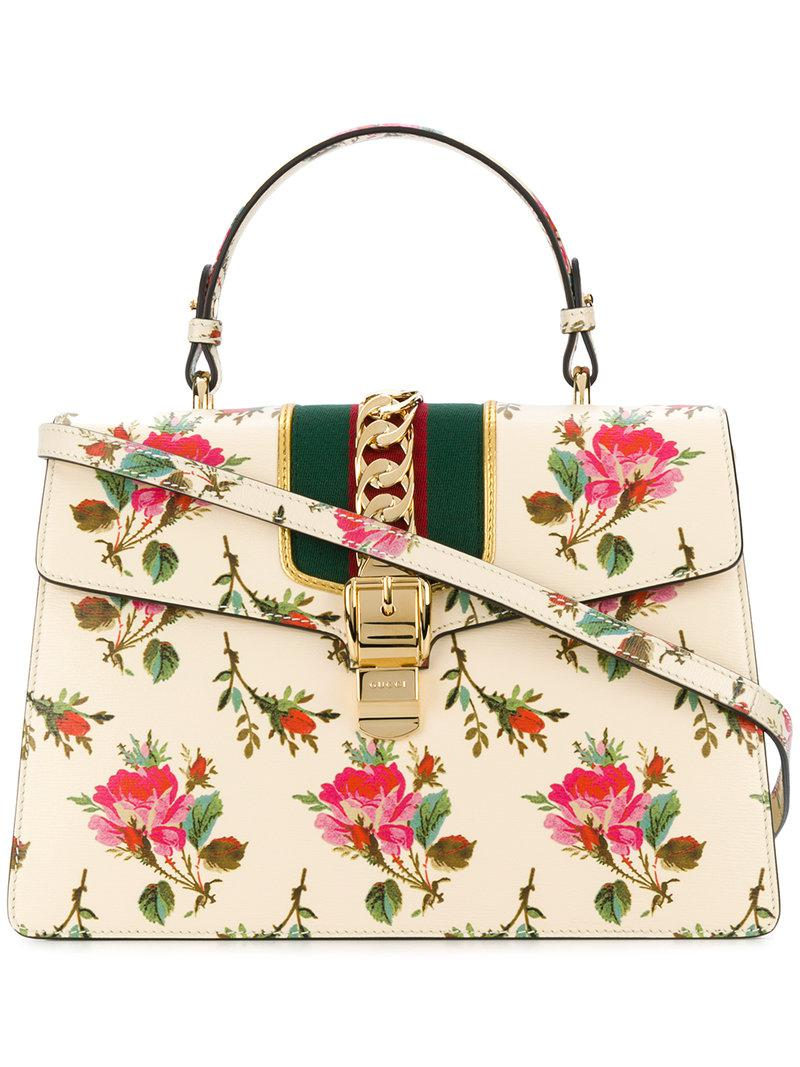 3d6f2e79b Gucci Sylvie Floral Print Top Handle Bag - Lyst