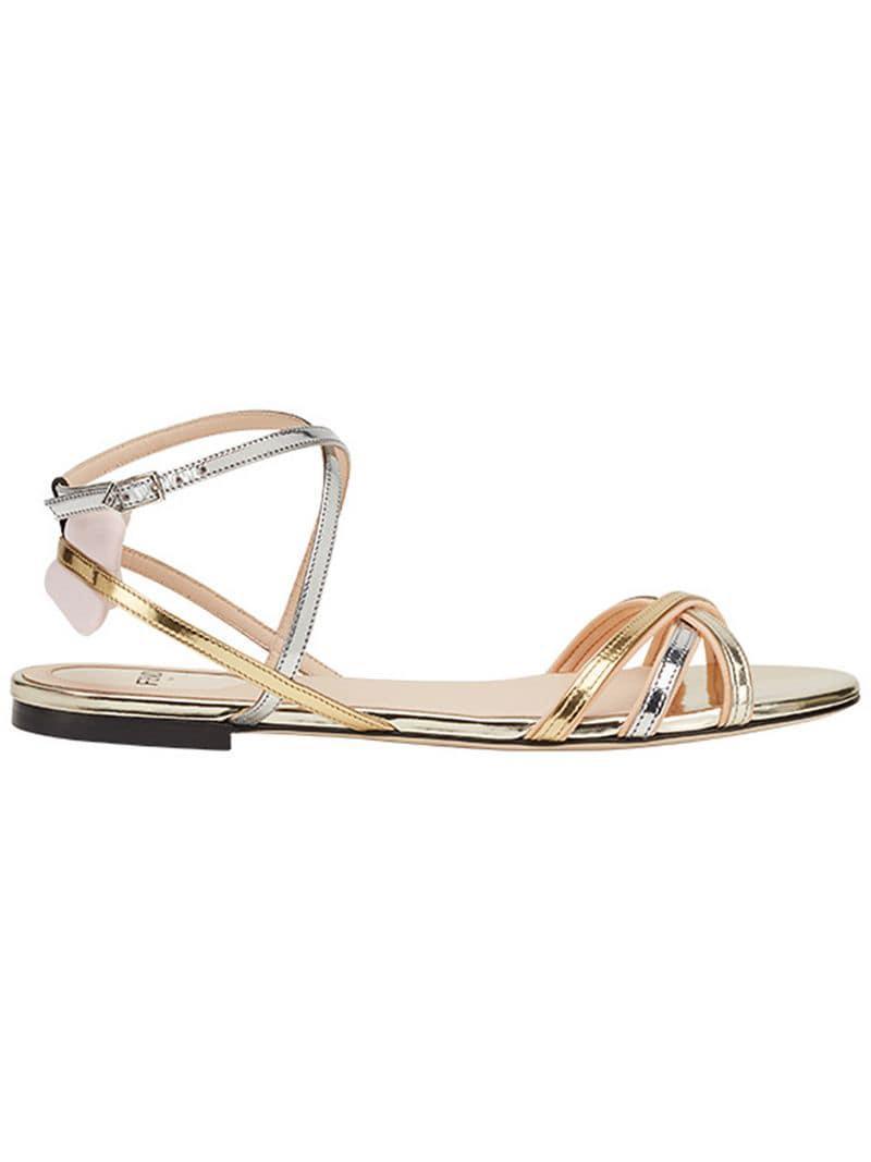509d0c869f67 Fendi - Metallic Strappy Flat Sandals - Lyst. View fullscreen