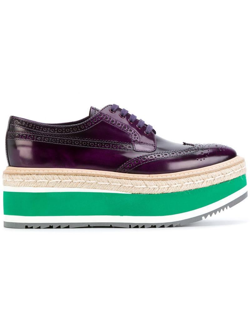 166a126a0113 Prada Platform Brogues in Purple - Save 9% - Lyst