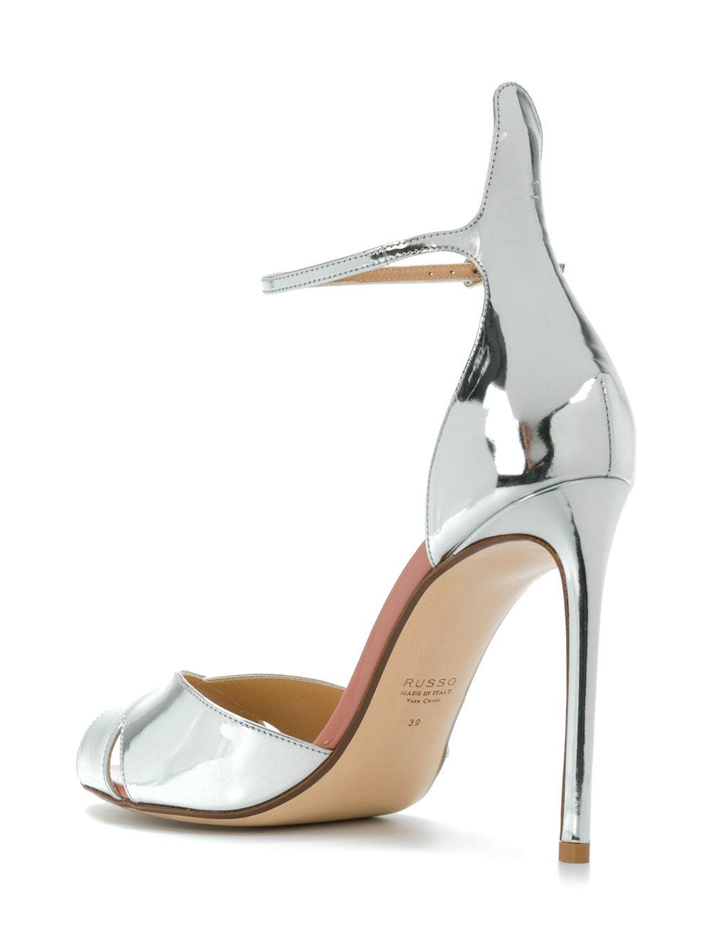 8f7ea67bae7 Francesco Russo - Metallic Slingback Mirror Sandals - Lyst. View fullscreen