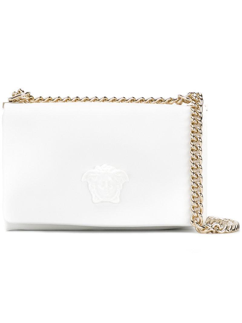 Lyst - Versace Palazzo Medusa Shoulder Bag in White 6b4a409d61472