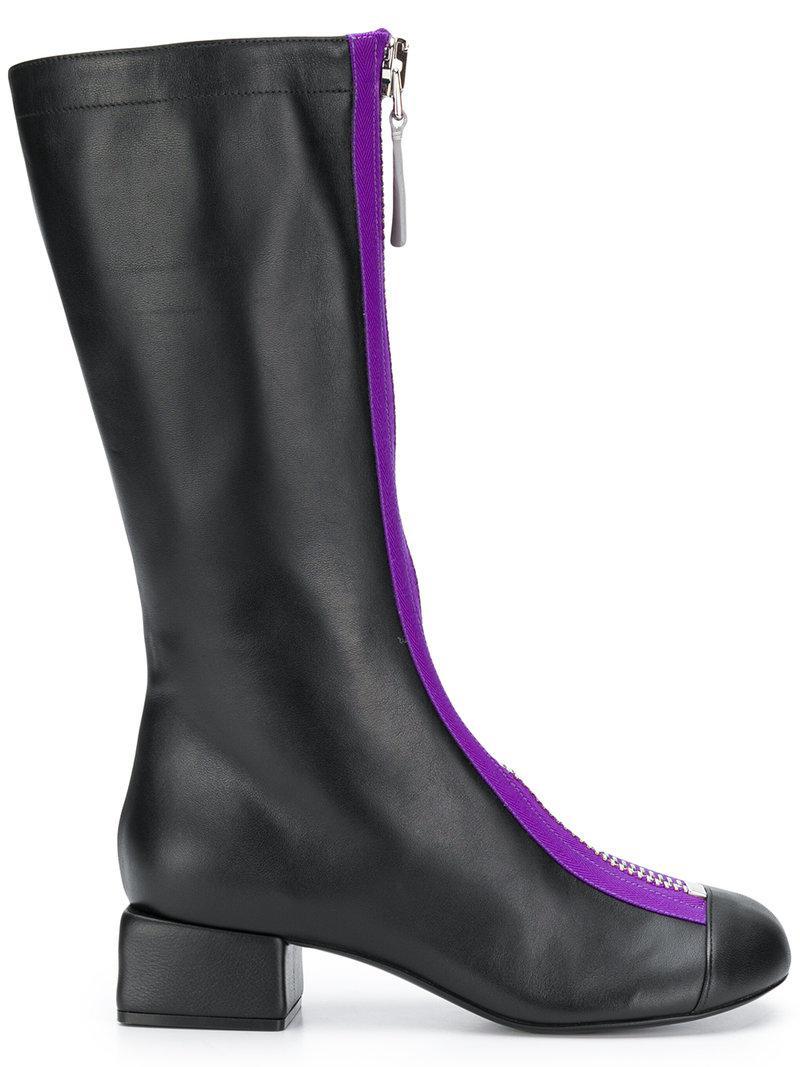 Front Zip In Boots Mid Calf Marni Black Lyst qE8ZAn