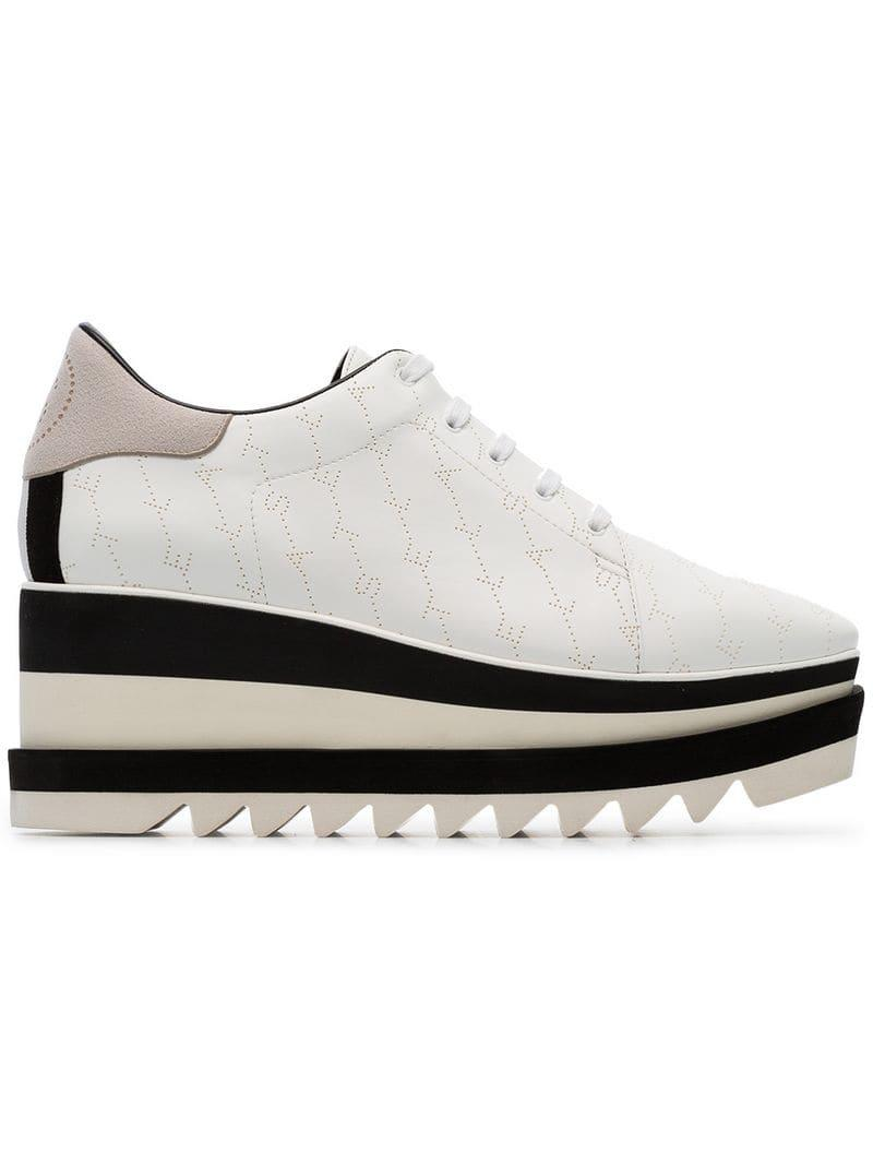 553378f374d8 Lyst - Stella McCartney White Elyse 80 Logo Flatform Brogues in White