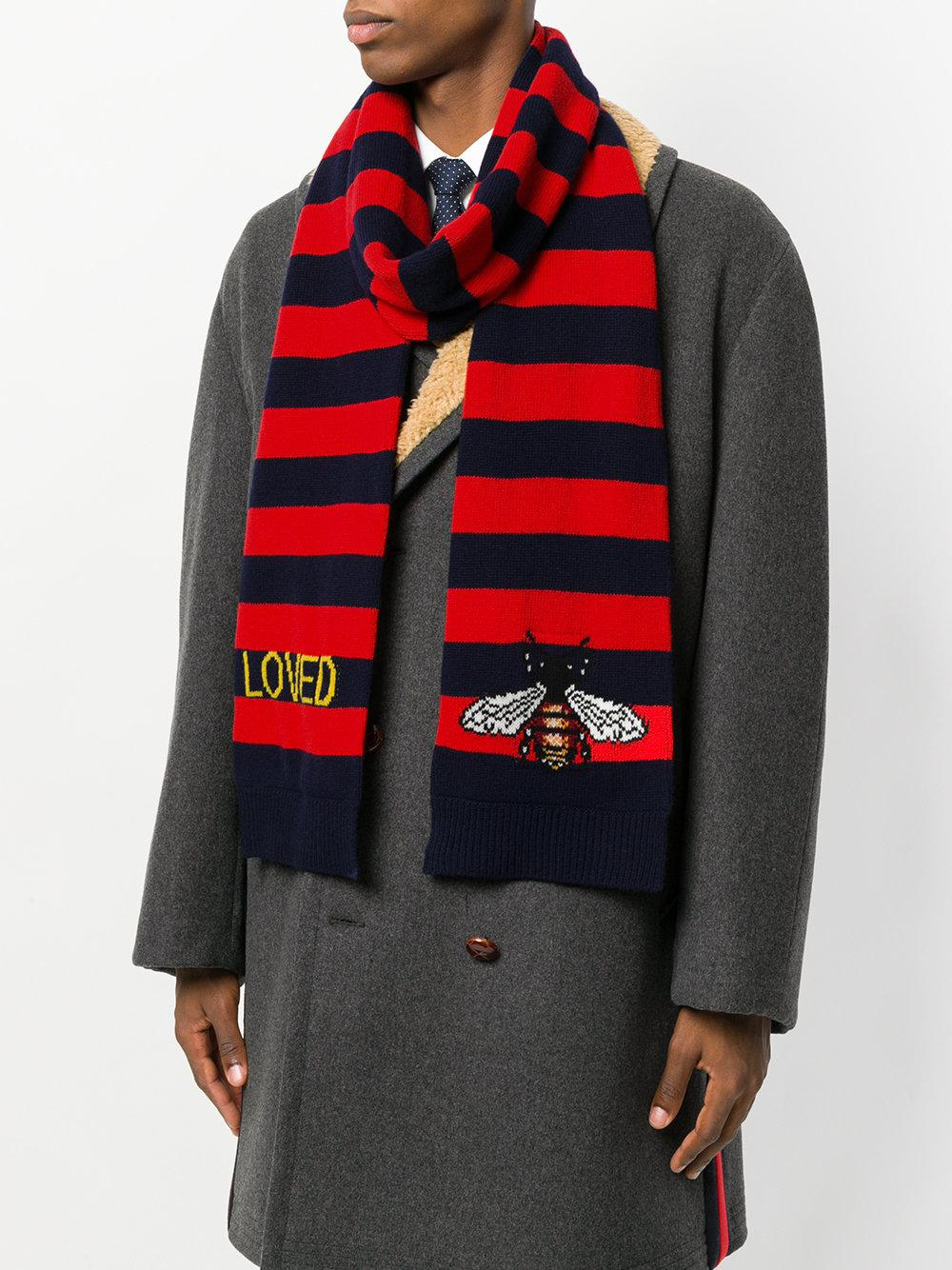 Bee striped scarf - Blue Gucci cpD2kC