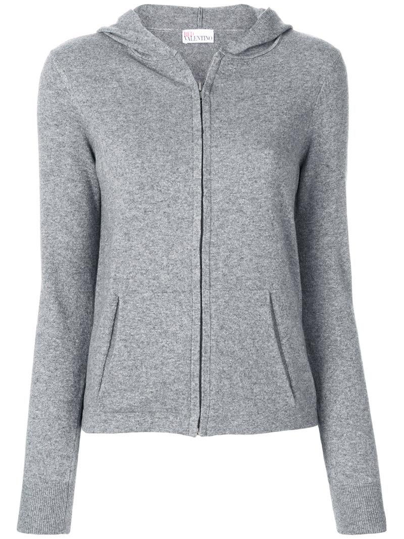 floral embroidered hoodie - Grey Red Valentino Discounts Cheap Online Cheap Price Top Quality CmRTnUX