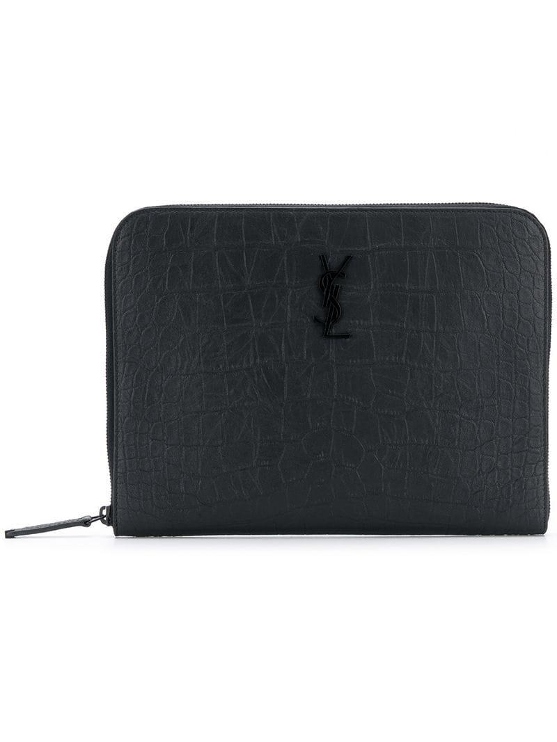 6ae2111034 Lyst - Saint Laurent Monogram Clutch in Black for Men