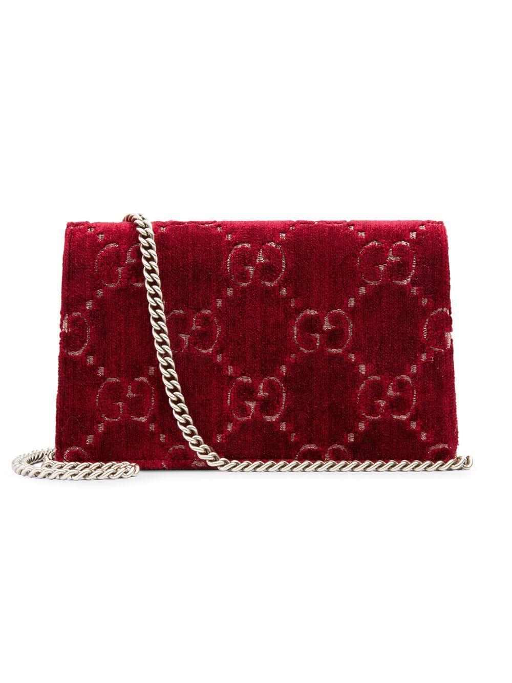 e7176e60634e Lyst - Gucci Dionysus GG Velvet Super Mini Bag in Red