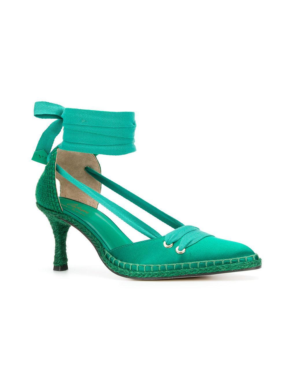 Casta?er x Manolo Blahnik mid-heel espadrille pumps - Green Castaner bVOyrv