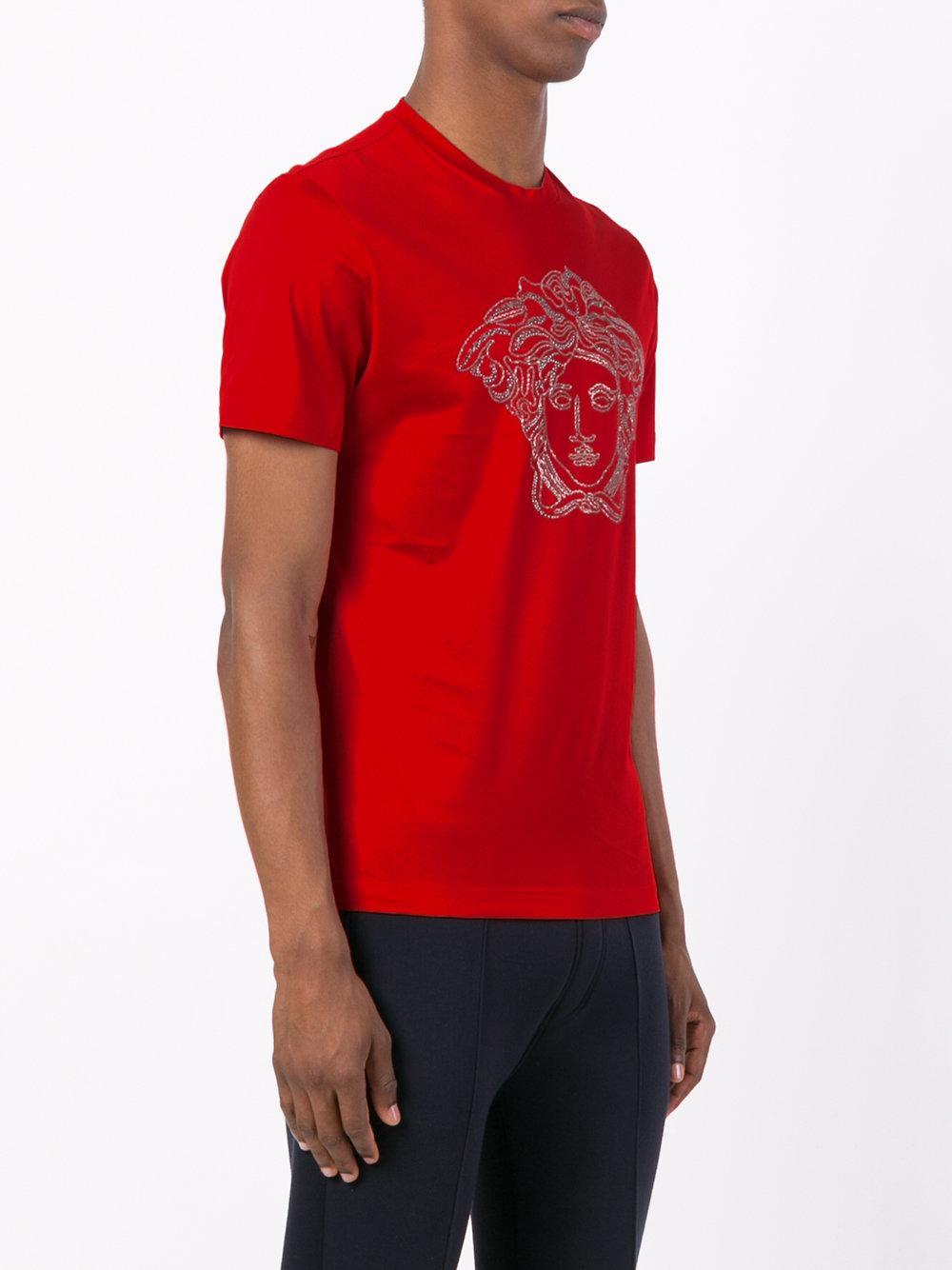 dfc3d166 Versace Medusa Head Swarovski T-shirt in Red for Men - Lyst