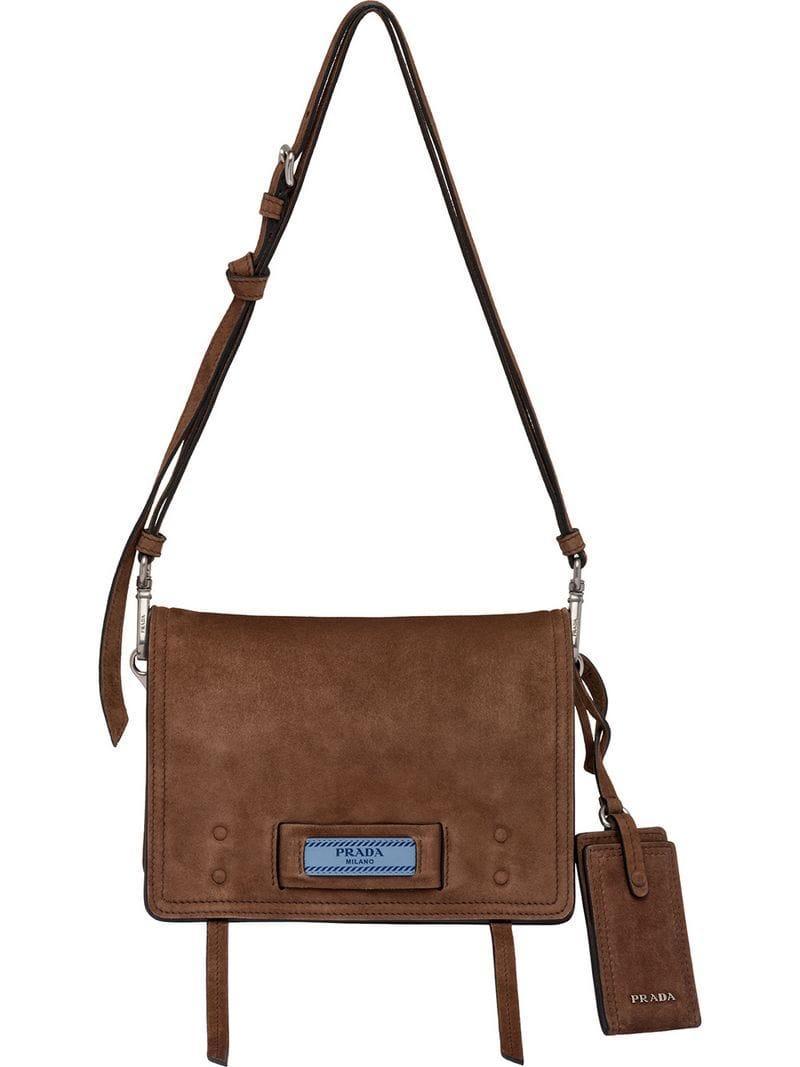 fa40056371c0 Prada Etiquette Suede Shoulder Bag in Brown - Lyst