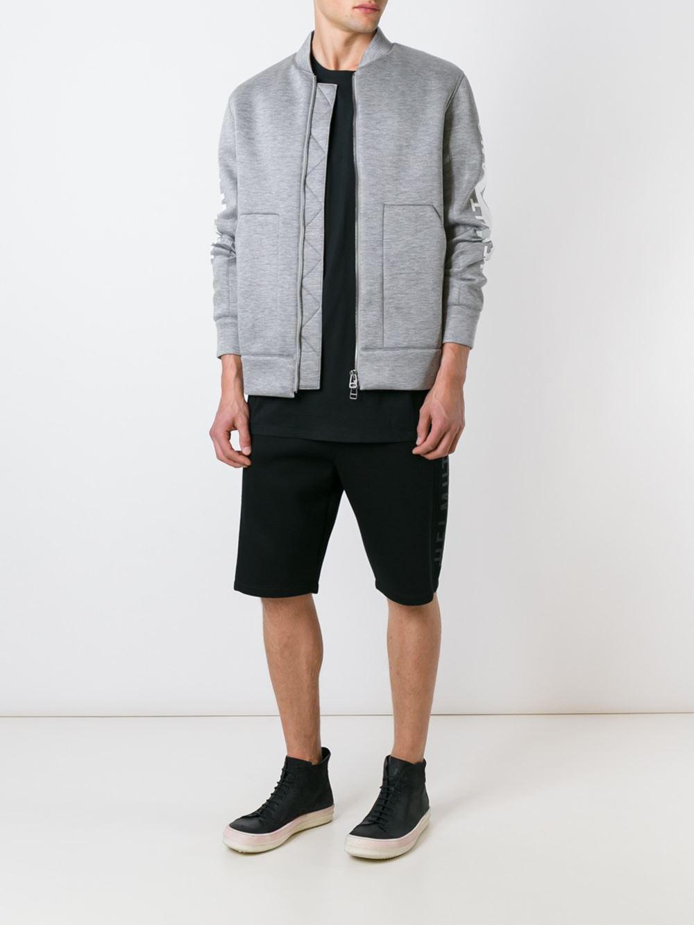64f7e309e Lyst - Helmut Lang Logo Print Bomber Jacket in Gray for Men