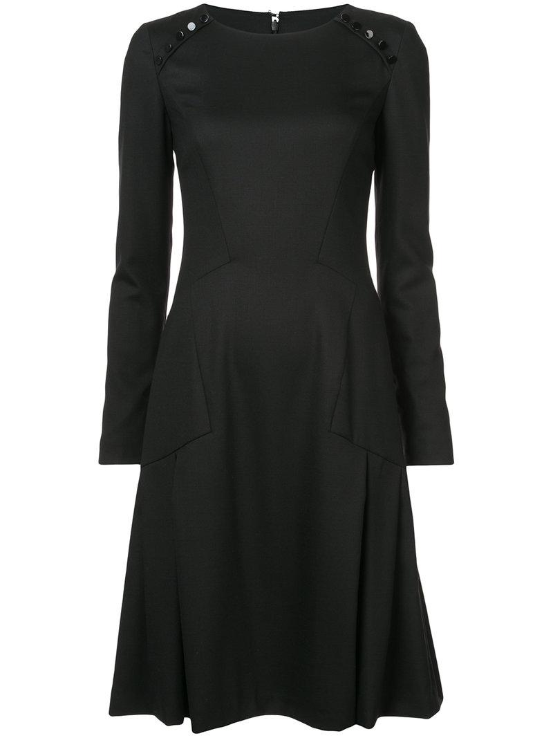 long-sleeve flared dress - Black Carolina Herrera