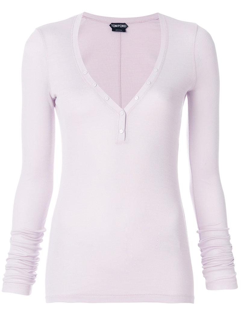 Tom Ford plunge henley top Cheap Sale Extremely lboV6