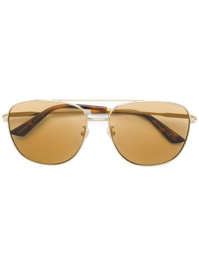 062469fe635 Lyst - Gucci Aviator Frame Sunglasses in Metallic