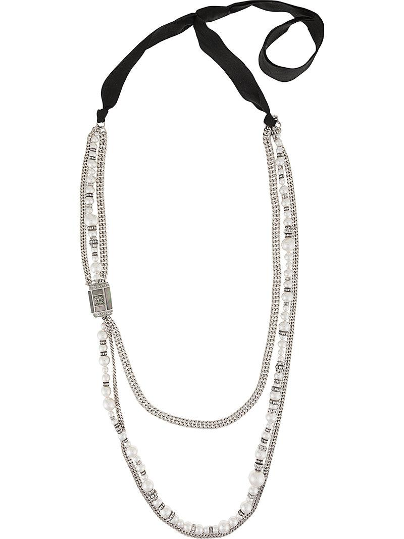 Lanvin pearl-embellished chain necklace - Metallic