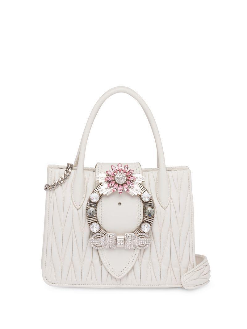 3e7909840739 Lyst - Miu Miu Miu Lady Matelassé Handbag in White