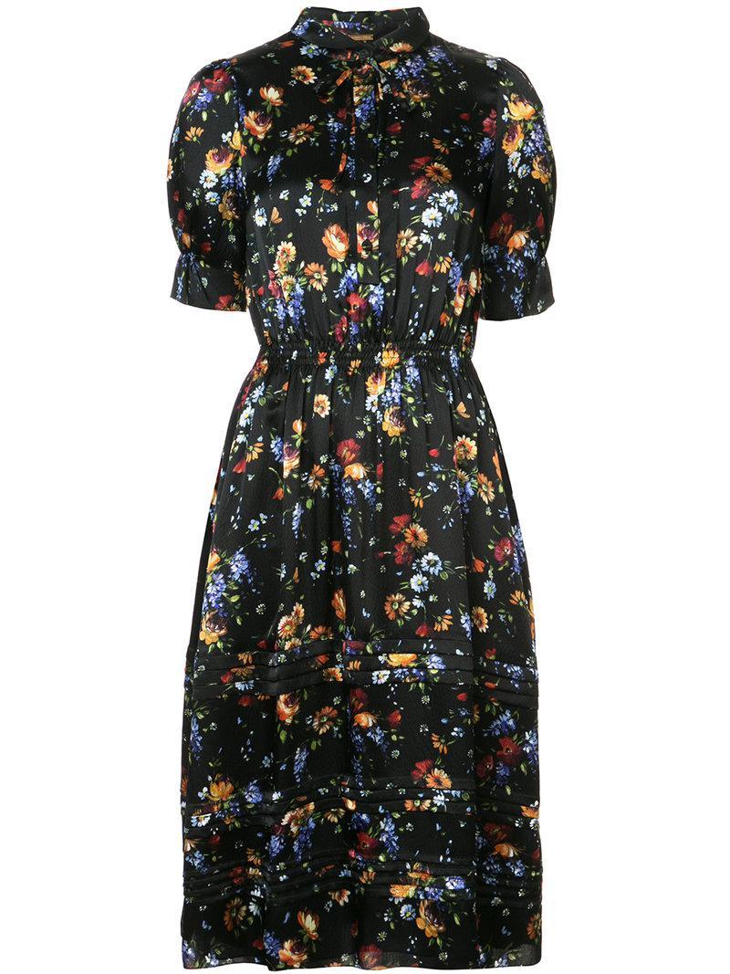 Lyst - Robe-chemise à fleurs Adam Lippes en coloris Noir 551d68a43c4e