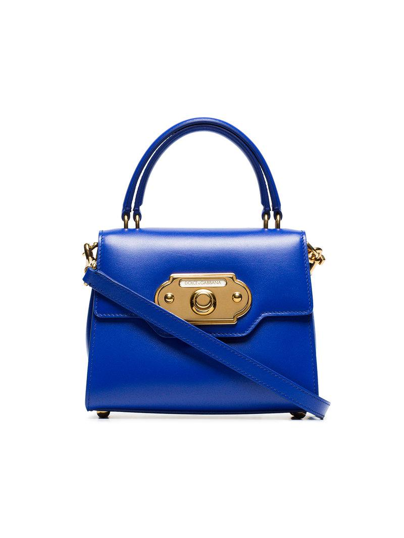 4ed193d4fb Lyst - Dolce   Gabbana Blue Welcome Small Leather Tote in Blue