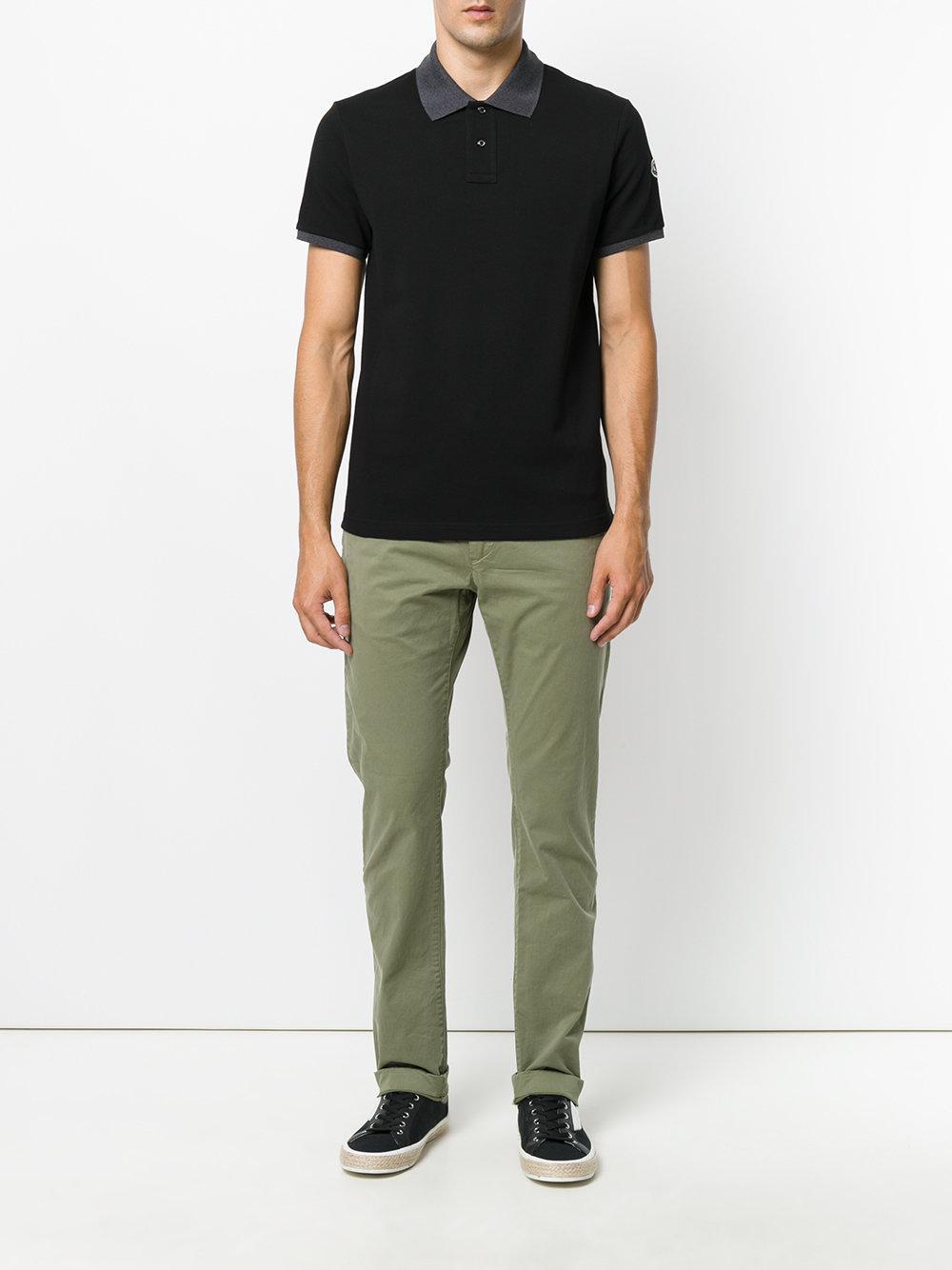 5728172bb1ea Lyst - Moncler Contrast Trim Polo Shirt in Black for Men