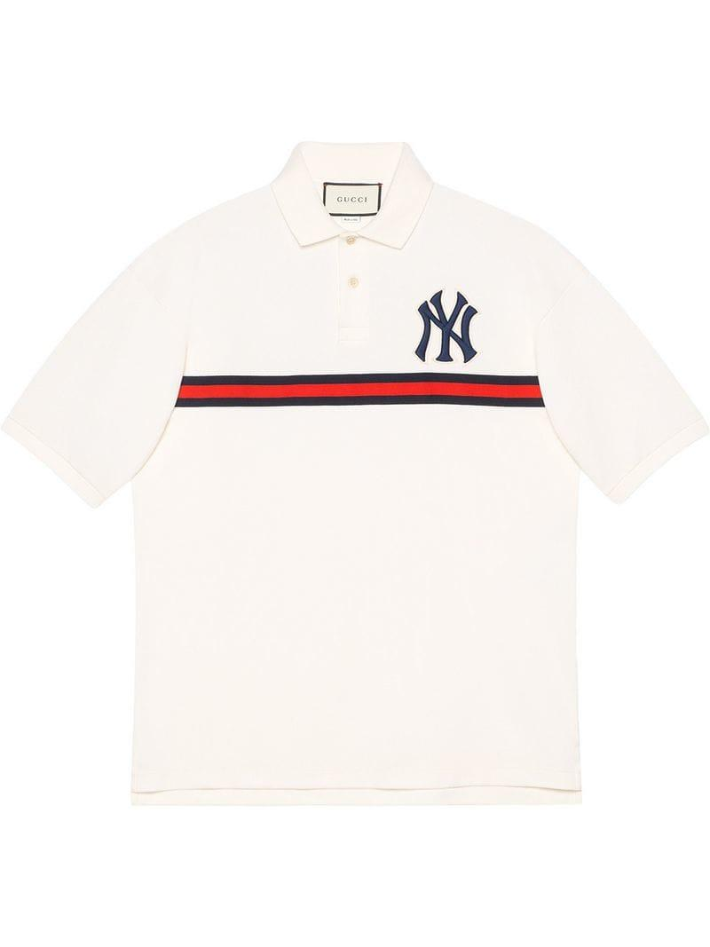 4d094673561 Gucci - White Men s Polo With Ny Yankeestm Patch for Men - Lyst. View  fullscreen