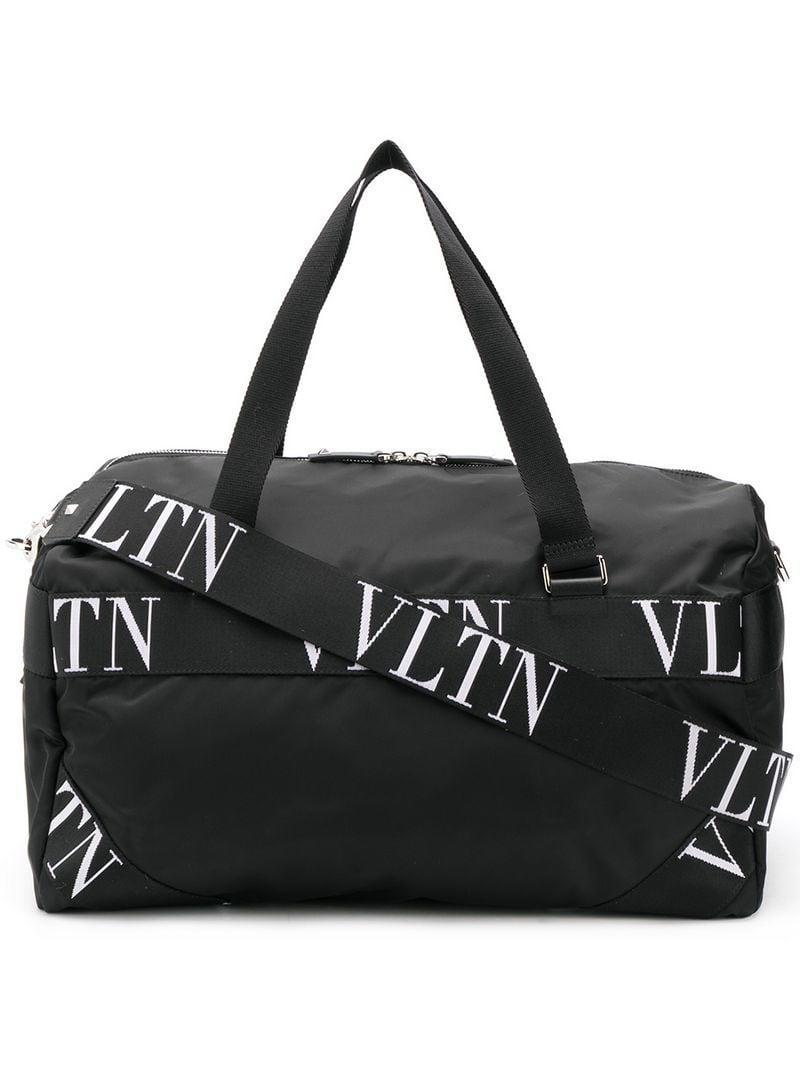 bb1cfabfbc Lyst - Valentino Small Vltn Logo Nylon Boston Bag in Black for Men ...