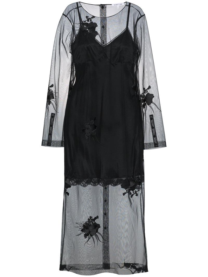 With Paypal Online floral embroidered mesh dress - Black Helmut Lang Authentic Cheap Price GLllbyu