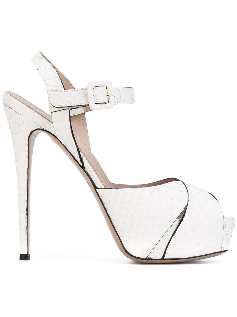 e5819f2051b Le Silla Platform Stiletto Sandals in White - Lyst