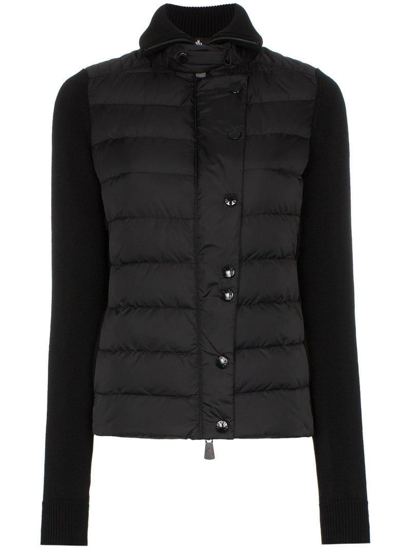 4dc3df123d0c Lyst - Moncler Grenoble Maglione Knitted Sleeve Puffer Jacket in Black