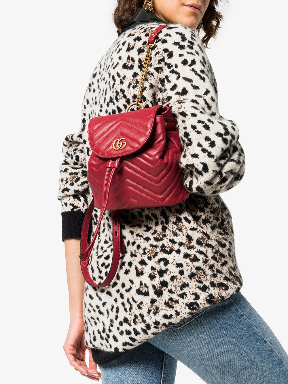 e37eefd966f8 Lyst - Gucci Red Marmont Quilted Leather Backpack in Red - Save 19%