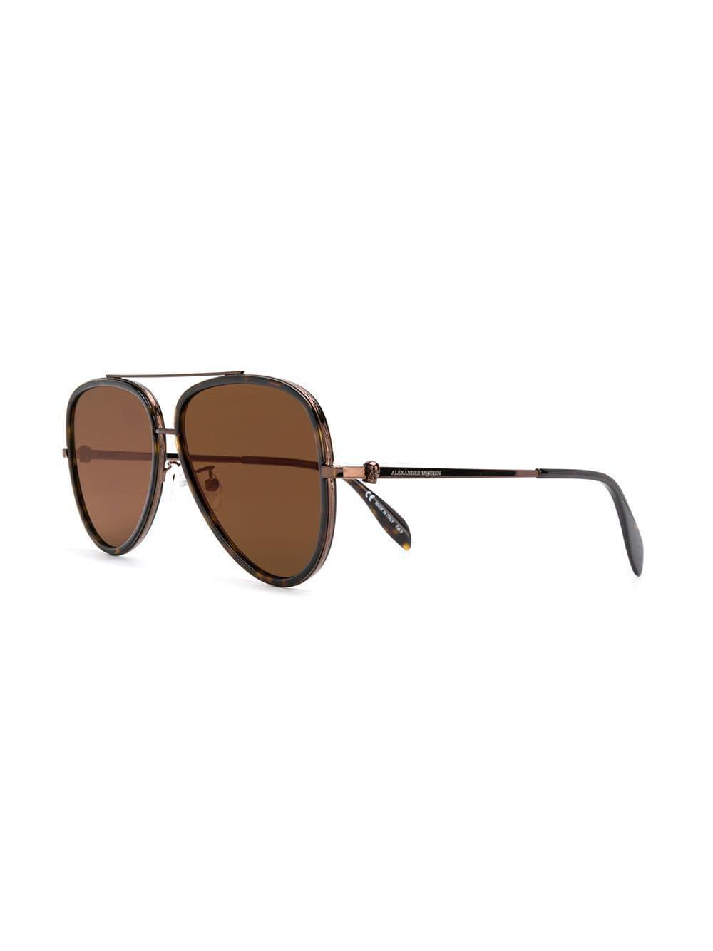 0a646d29b8e Alexander McQueen - Brown Aviator Sunglasses for Men - Lyst. View fullscreen