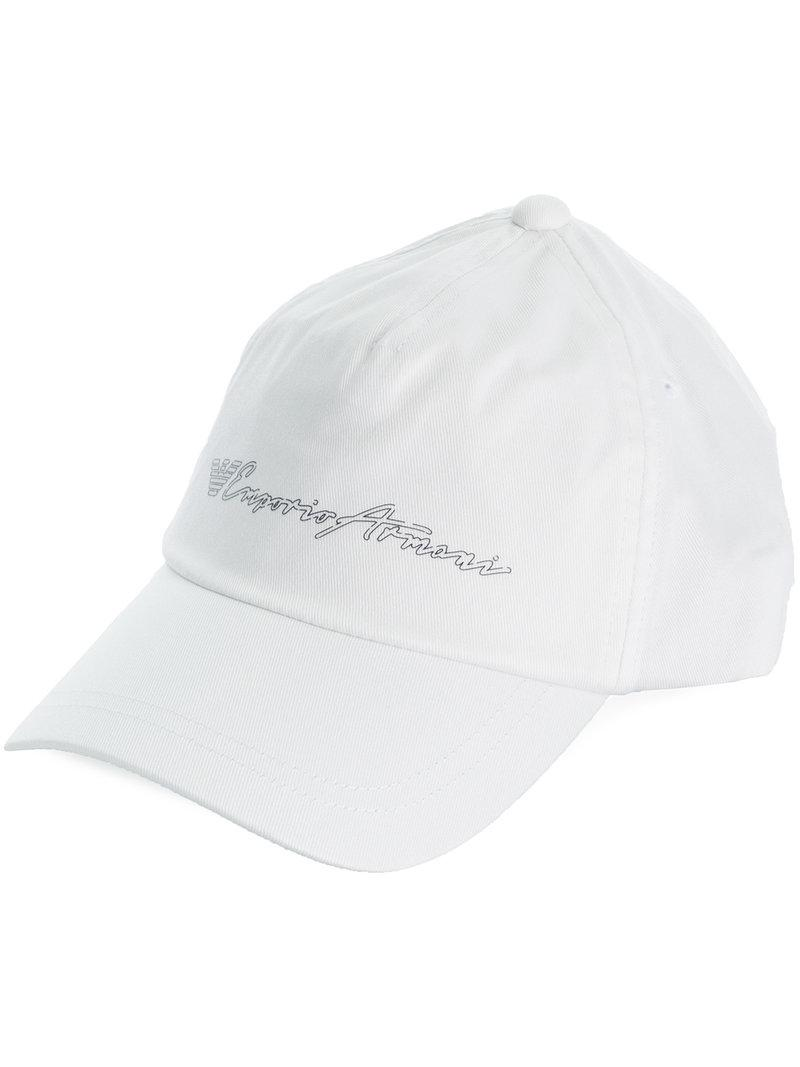 3be044681d3 Lyst - Emporio Armani Logo Printed Baseball Cap in White for Men
