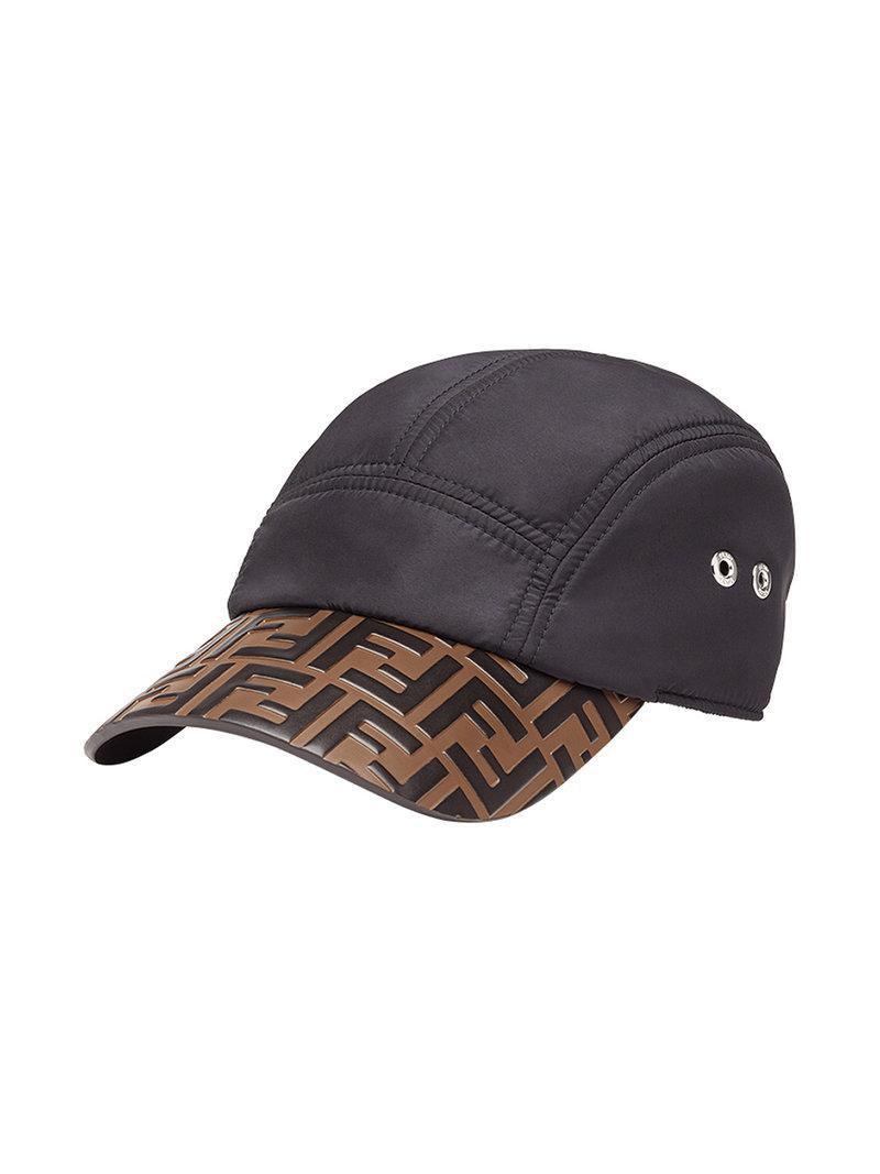 6b519ecb31408 Fendi Logo Embossed Baseball Cap in Black for Men - Lyst