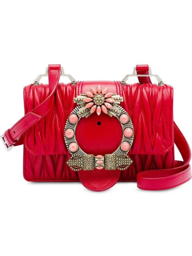 ca5a49614a213 Miu Miu Miu Lady Matelassé Leather Shoulder Bag in Red - Lyst