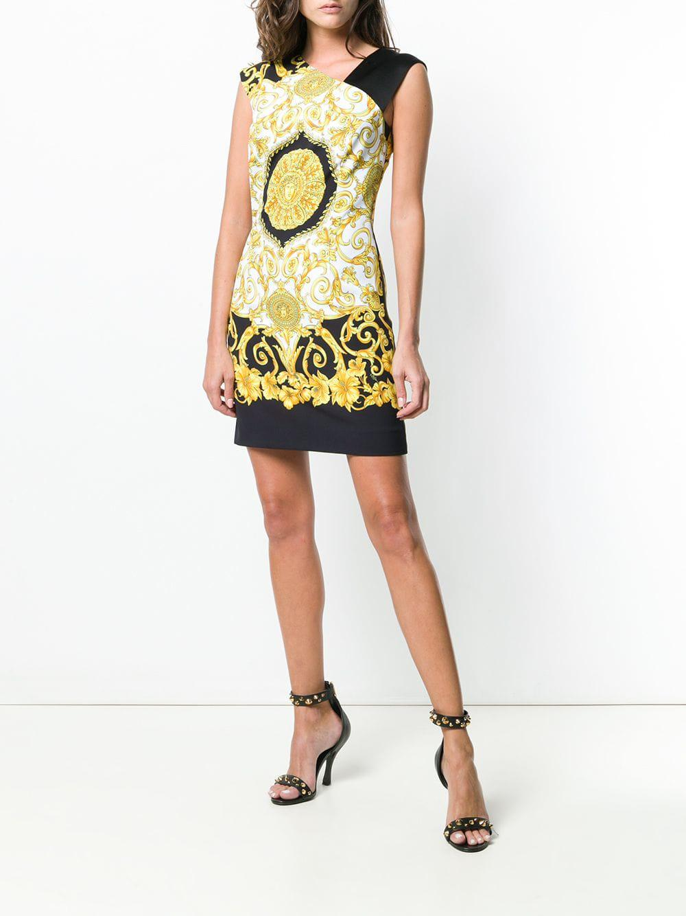3448ccd48eb Versace Barocco Print Dress in Black - Lyst